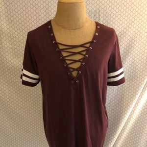 T shirt dress with laced low cut neckline